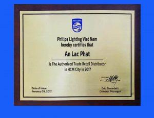 Giấy chứng nhận nhà phân phối đèn led philips 2017