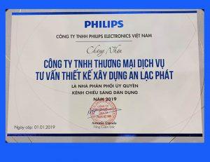 Giấy chứng nhận nhà phân phối đèn led philips 2019